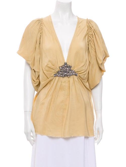 Lanvin Silk Plunge Neckline Blouse