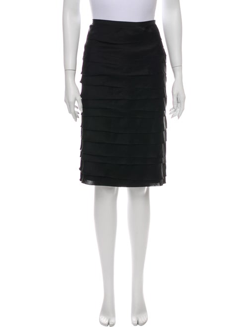 Lanvin Pleated Accents Knee-Length Skirt Black