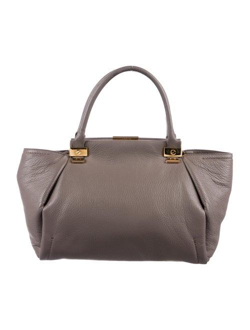 Lanvin Trilogy Leather Satchel Aubergine