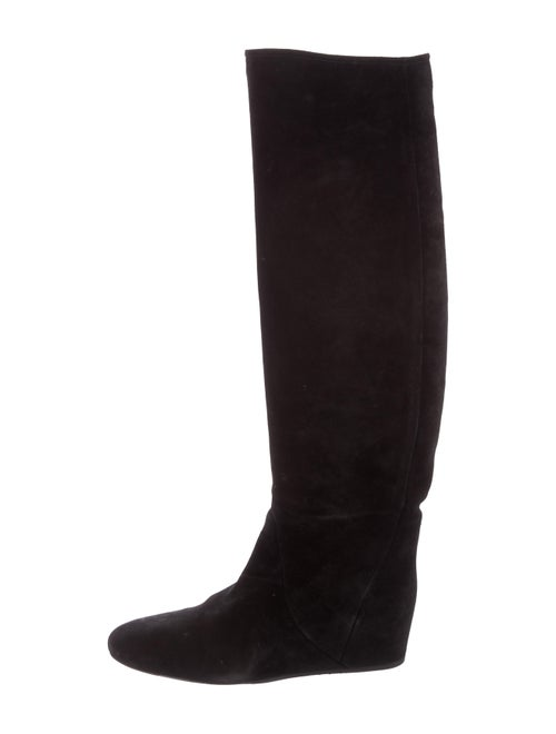 Lanvin Suede Knee-High Boots Suede Boots Black