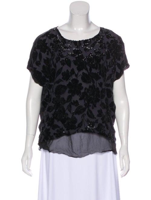 Lanvin Metallic Floral Blouse Black