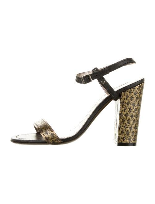 Lanvin Metallic Leather Sandals Black
