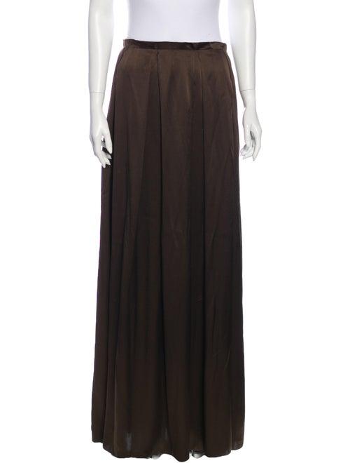 Lanvin Silk Long Skirt Brown