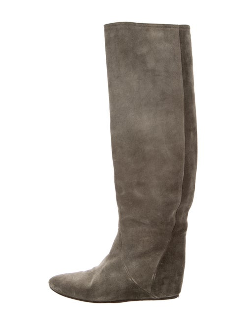 Lanvin Suede Riding Boots Green