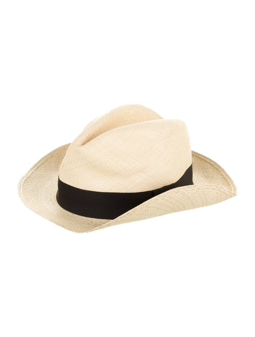 Lanvin Straw Fedora Hat black