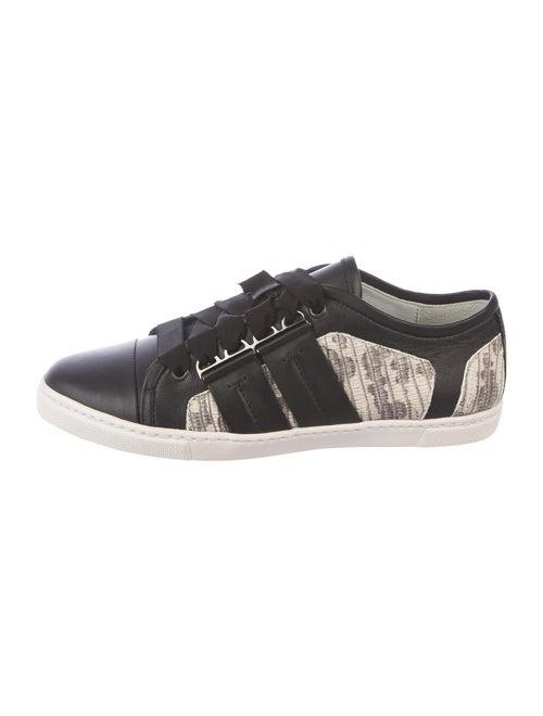 Lanvin Leather Animal Print Sneakers Black