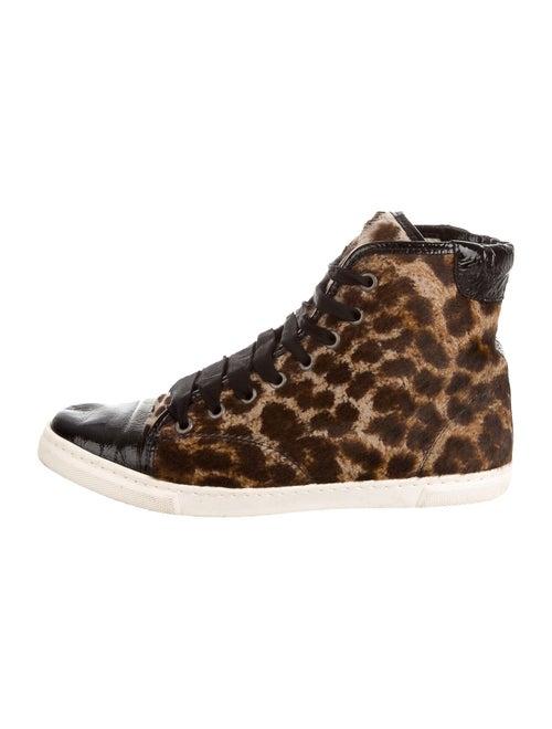 Lanvin Ponyhair Animal Print Sneakers Brown