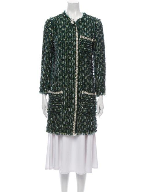 Lanvin Tweed Pattern Coat Green
