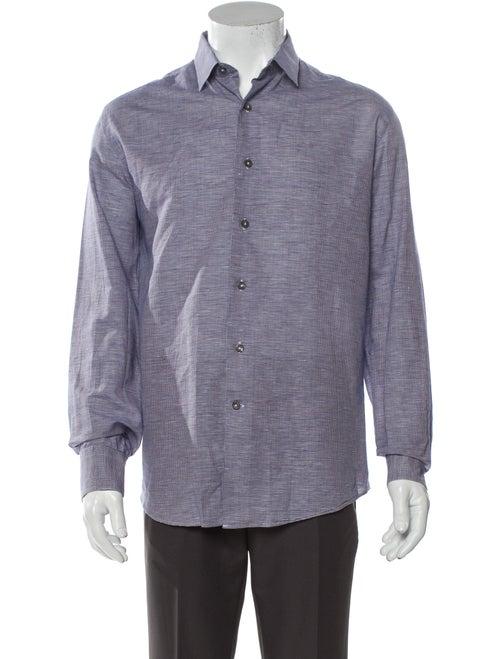 Lanvin Linen Plaid Print Shirt Blue