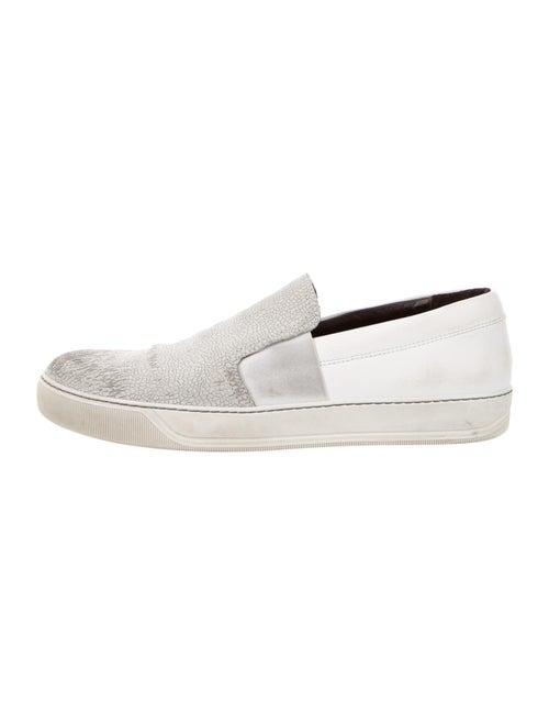 Lanvin Nubuck Printed Sneakers Grey