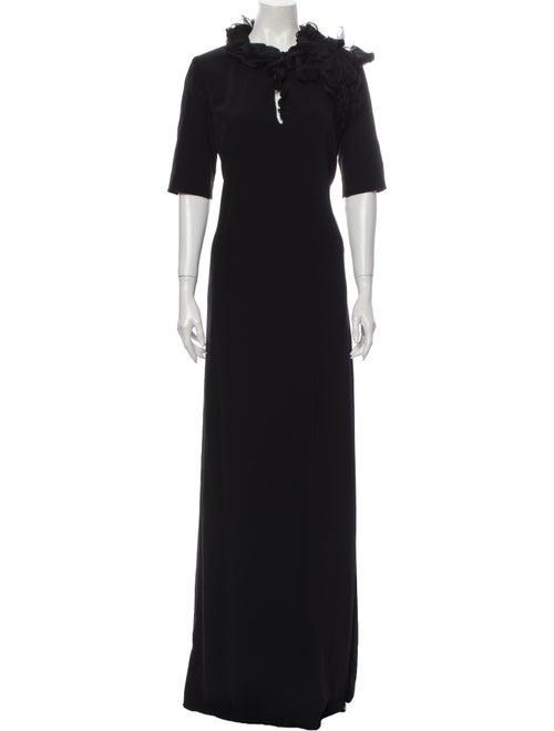 Lanvin Mock Neck Long Dress Black