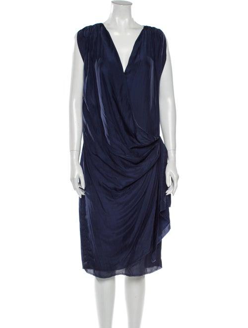 Lanvin Silk Knee-Length Dress Blue