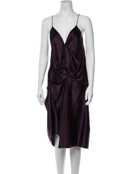 Lanvin Silk Midi Length Dress Purple