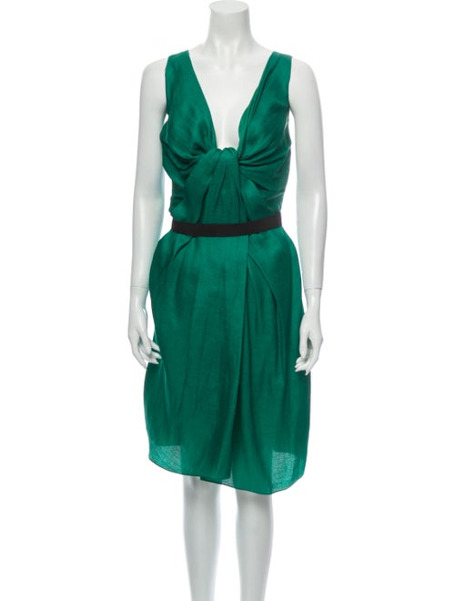 Lanvin Silk Knee-Length Dress Green