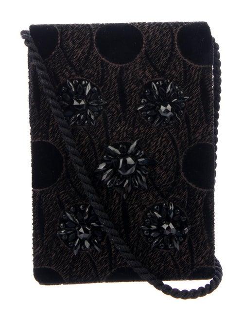 Lanvin Embroidered Velvet Evening Bag Black