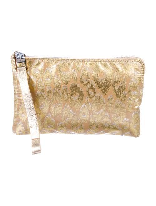 Lanvin Metallic Brocade Wristlet Gold