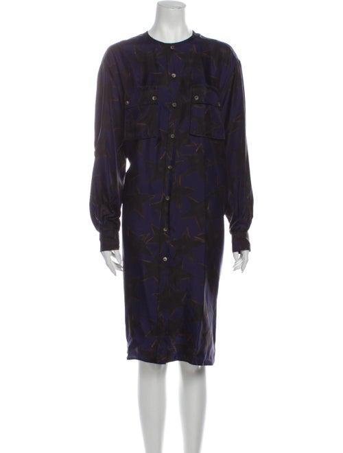Lanvin Silk Midi Length Dress Blue