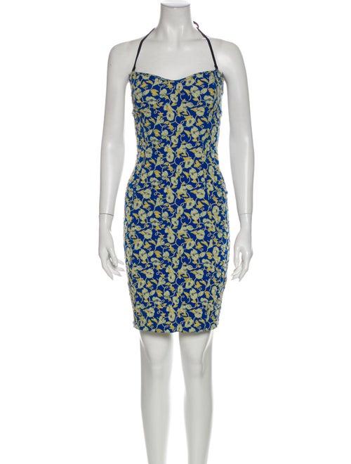 Lanvin Printed Mini Dress Blue