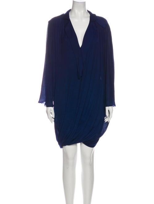 Lanvin Plunge Neckline Knee-Length Dress Blue