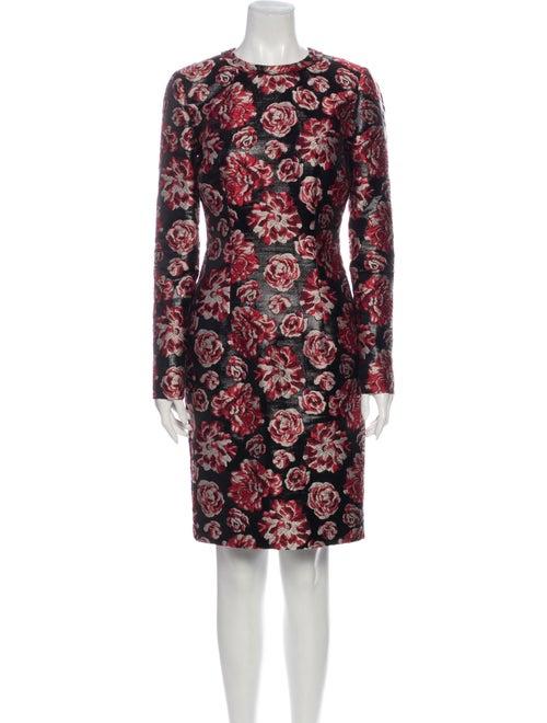Lanvin Floral Print Knee-Length Dress Black