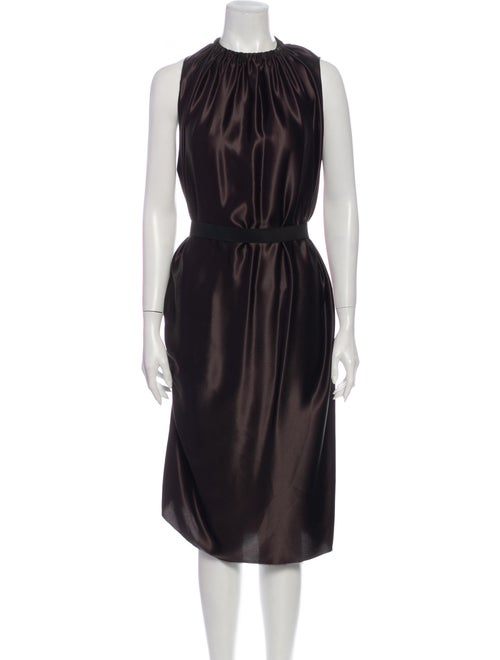 Lanvin Silk Midi Length Dress Brown