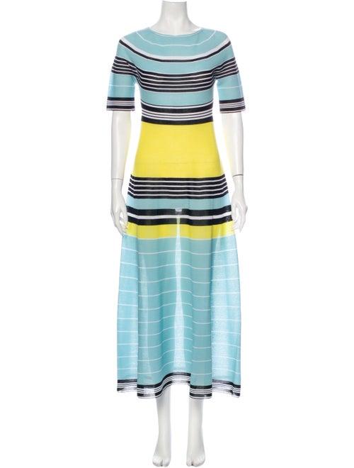 Lanvin Striped Long Dress Blue