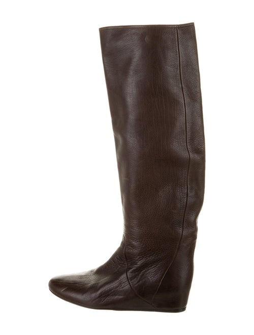 Lanvin Leather Riding Boots Brown
