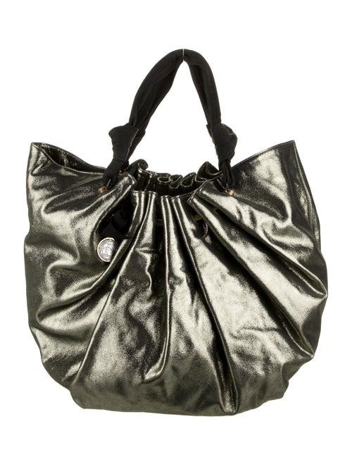 Lanvin Leather Lamé Hobo Gold