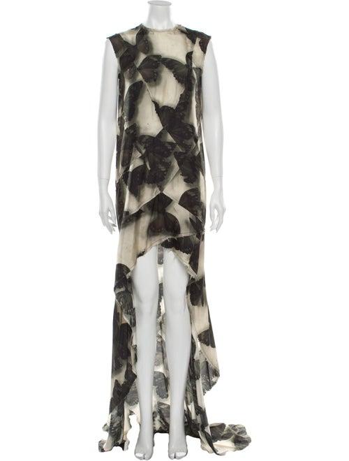Lanvin Silk Long Dress Green