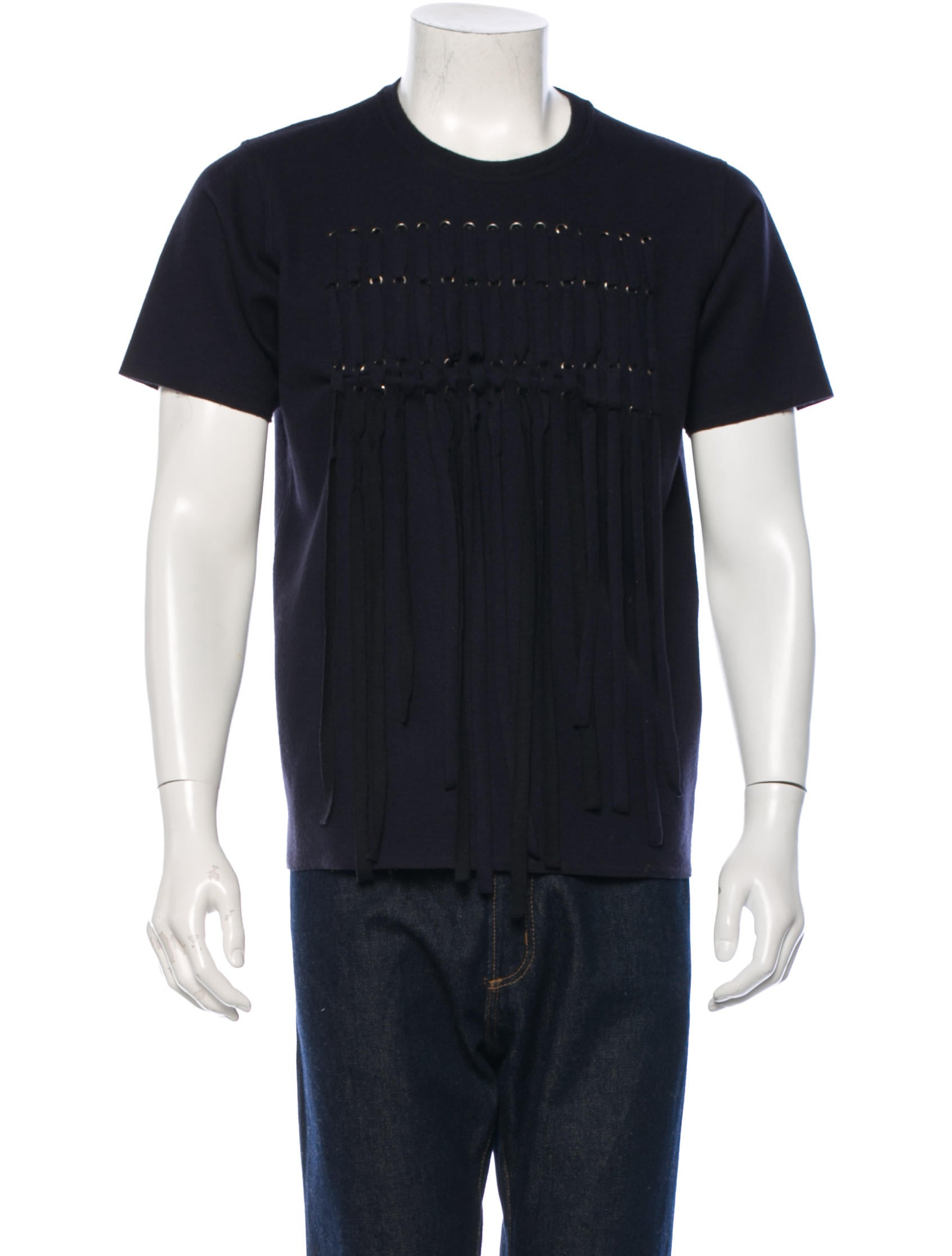 Lanvin virgin wool fringe t shirt clothing lan37395 for Mens shirt with tassels