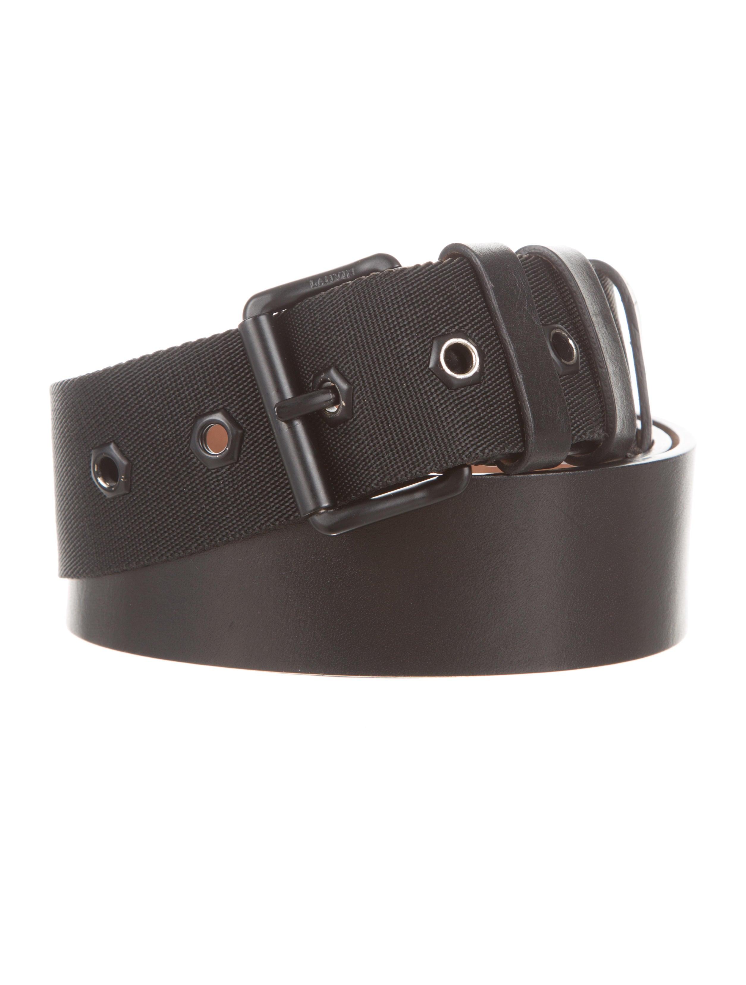 lanvin leather canvas trim belt accessories lan37851