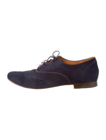 Suede Round-Toe Oxfords
