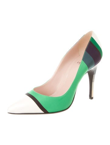 Striped Satin Pumps w/ Tags