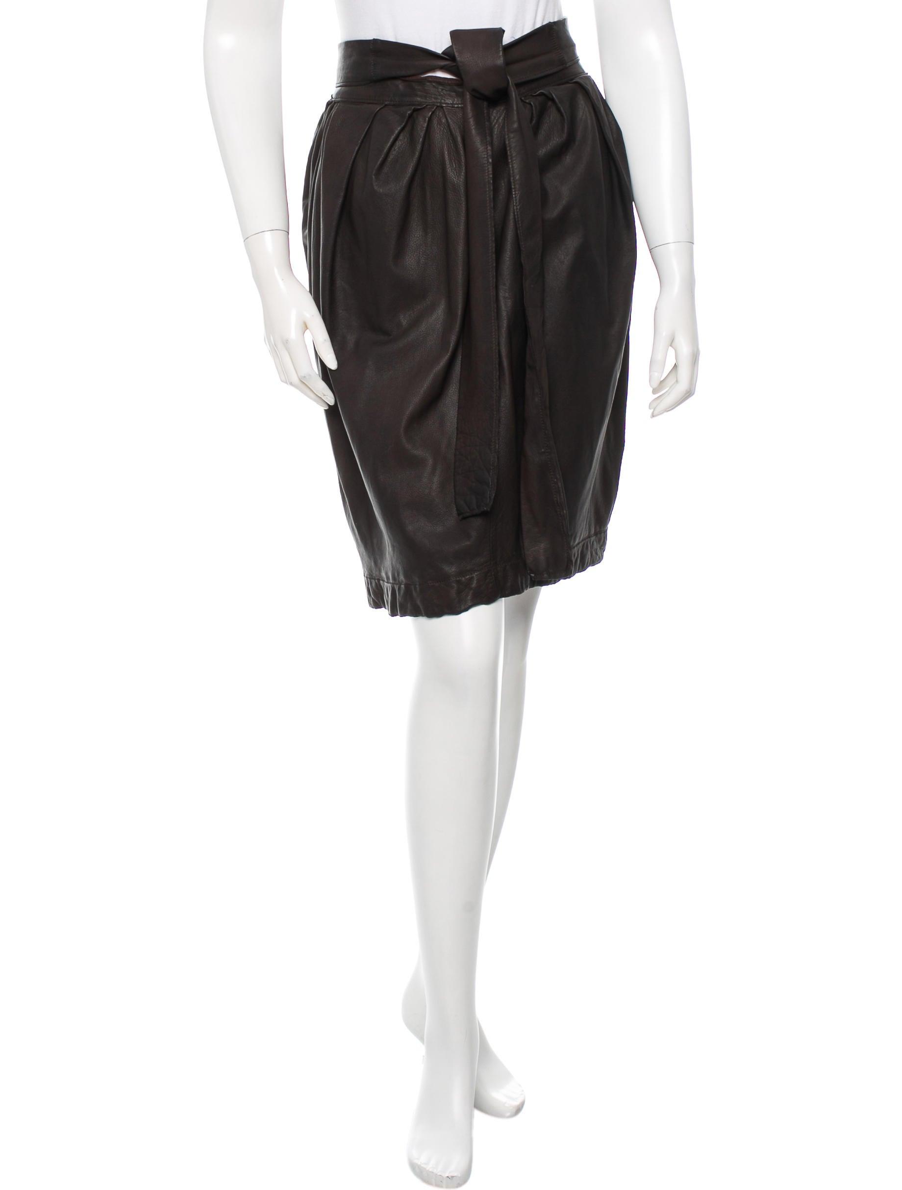 lanvin leather knee length skirt clothing lan43285