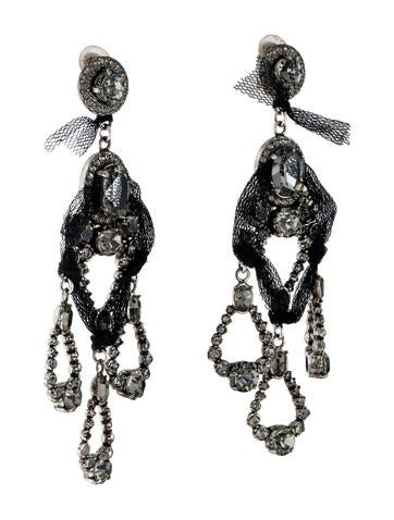 Crystal & Tulle Chandelier Clip-On Earrings