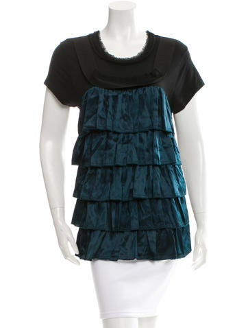 Lanvin Ruffled Crew Neck Top None