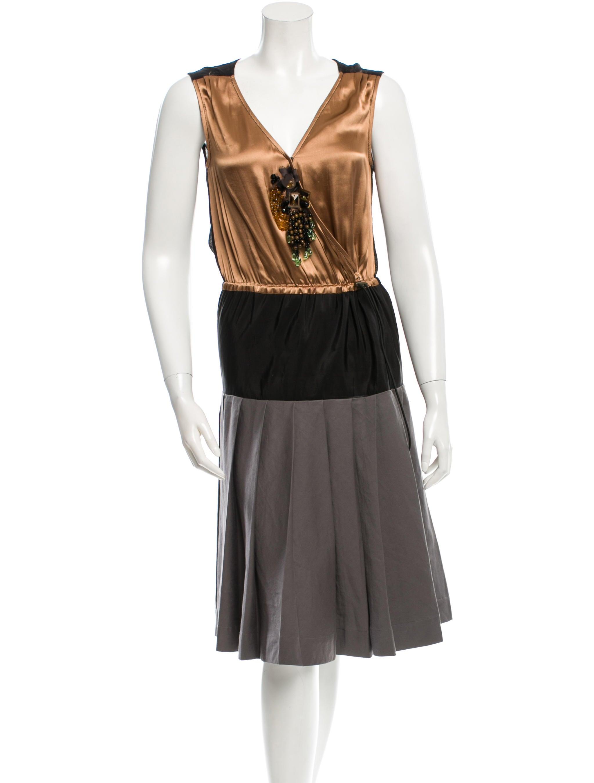 lanvin silk bead embellished dress clothing lan45662