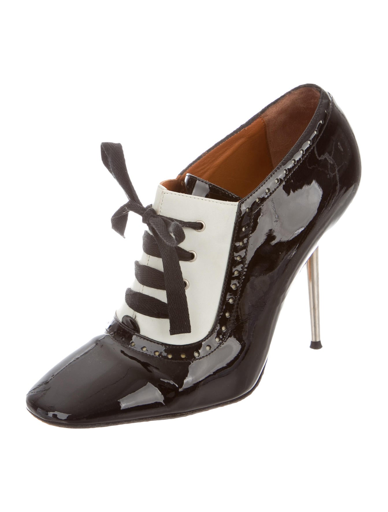 lanvin patent leather lace up booties shoes lan46248