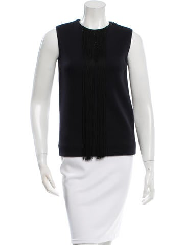 Lanvin Wool Fringe-Accented Top None
