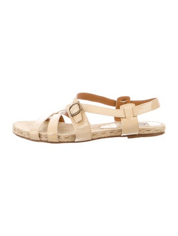 Lanvin Patent Leather Crossover Sandals None