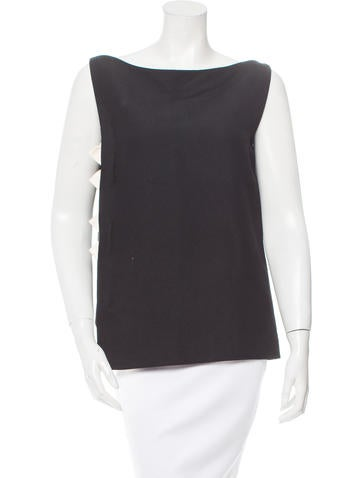 Lanvin Silk-Trimmed Sleeveless Top None