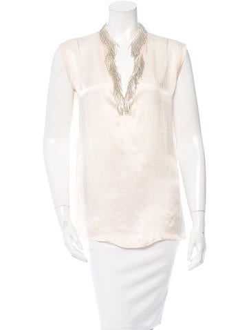 Lanvin Beaded-Embellished Sleeveless Top None