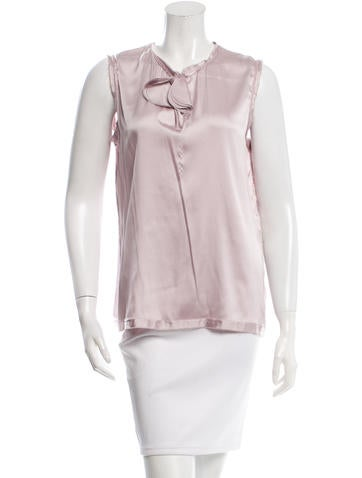 Lanvin Bow-Accented Silk Top None