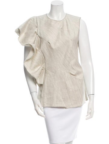 Lanvin Sleeveless Ruffle-Trimmed Top w/ Tags None