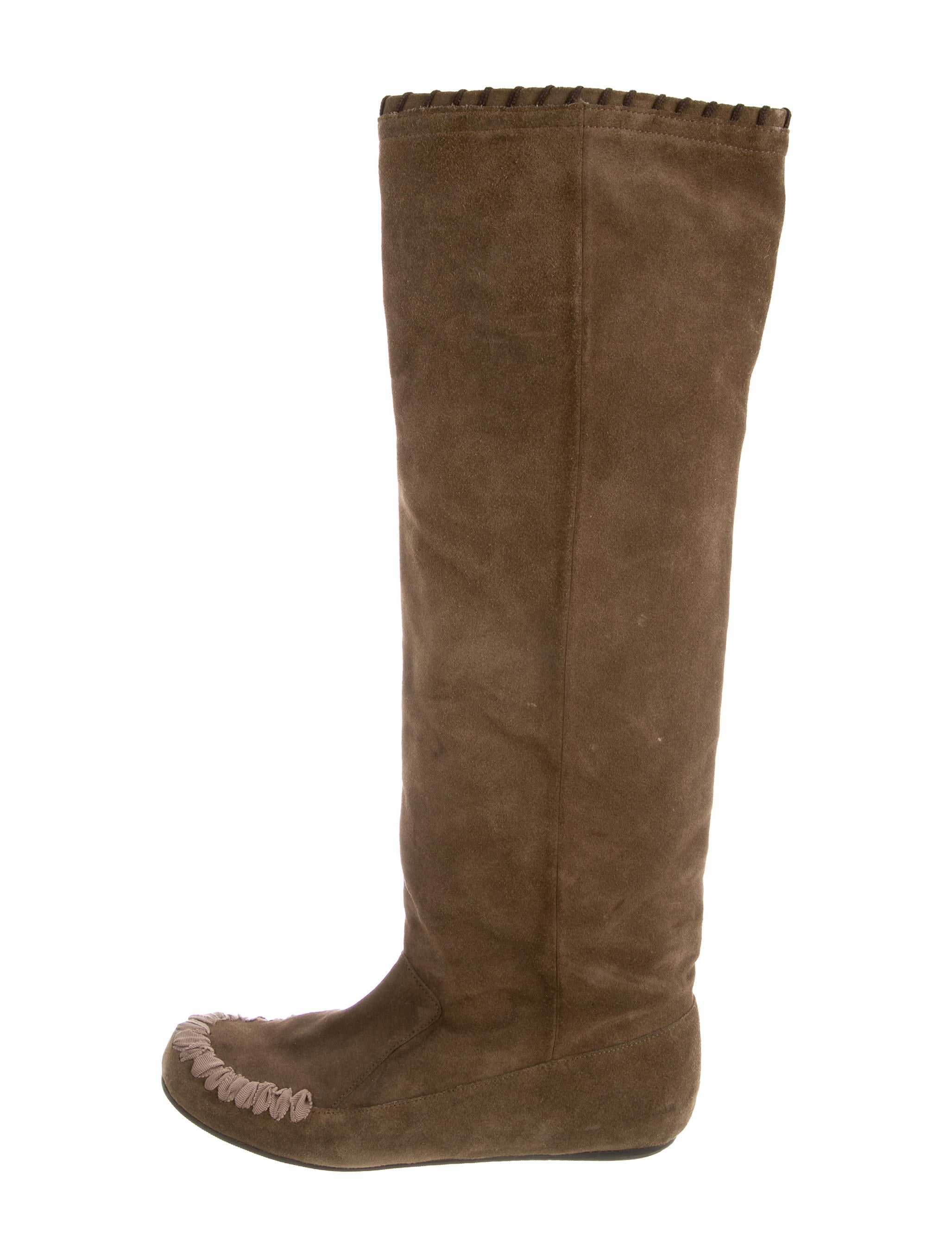 lanvin suede knee high boots shoes lan48391 the realreal