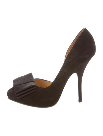 Lanvin Suede Bow-Accented Pumps