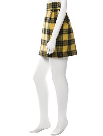 Plaid Wool-Blend Skirt