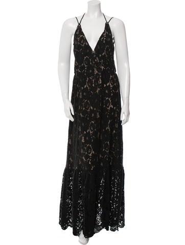 Lanvin 2016 Lace Decollete Neck Gown