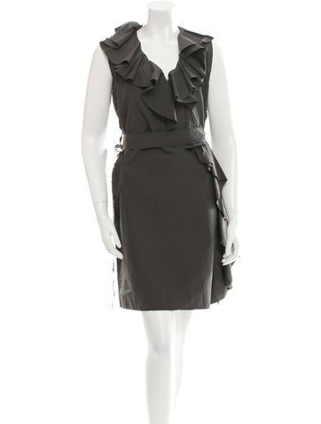 Lanvin Ruffle-Trimmed Belted Dress