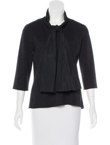 Lanvin Wool Bow-Accented Top None